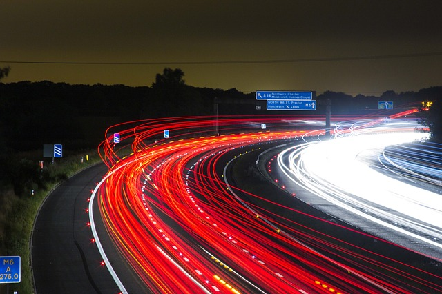 Motorway with traffic at speed